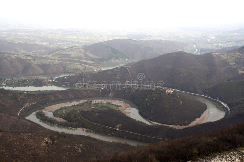 Morava river meanders stock photo