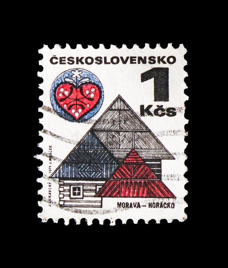 Moravia - Horacko, Folk Architecture serie, circa 1979. MOSCOW, RUSSIA - AUGUST 18, 2018: A stamp printed in Czechoslovakia shows Moravia - Horacko, Folk stock photos