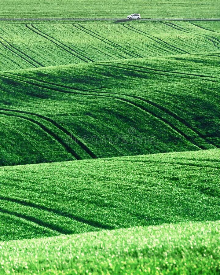 Moravian agricultural fields. Rural landscape with agricultural fields on spring hills in South Moravia region, Czech Republic stock images