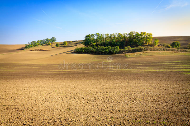 Moravian Fields. Panoramic view of cultivated field in South Moravia, Czechia. Beautiful wavy fields stock images