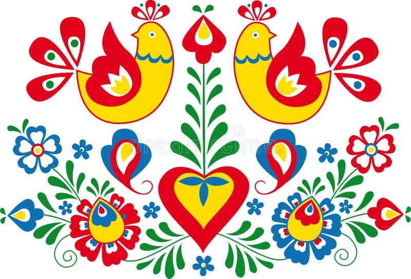 Moravian folkprydnad vektor illustrationer