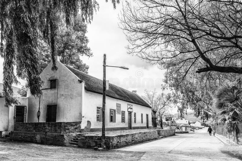 Moravian Mission Store in Wupperthal in the Cederberg. Mountains. Monochrome royalty free stock images