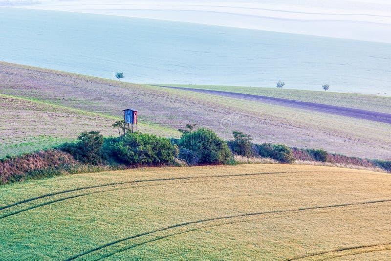 Moravian rullningslandskap med jakttornet fotografering för bildbyråer