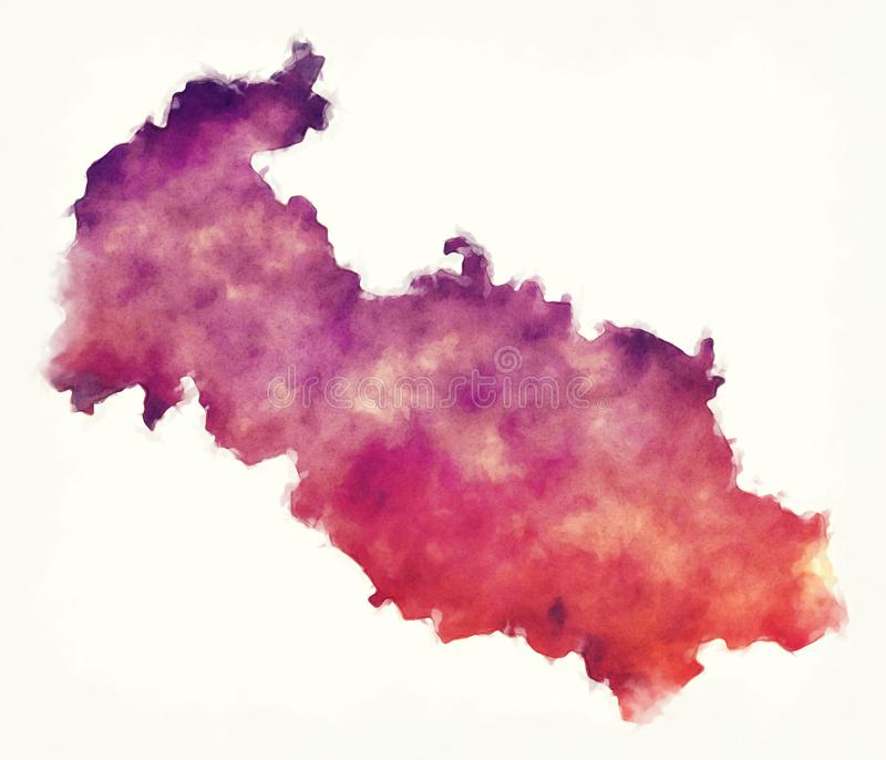 Moravian-Silesian region watercolor map of Czech Republic in fro. Nt of a white background stock photos