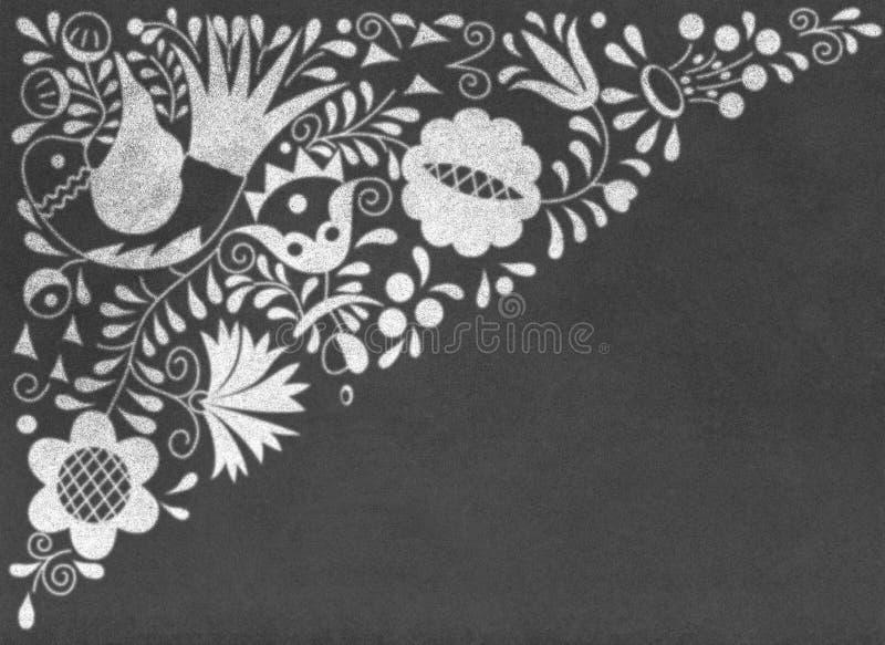 Morawscy lud ornamenty na chalkboard ilustracja wektor