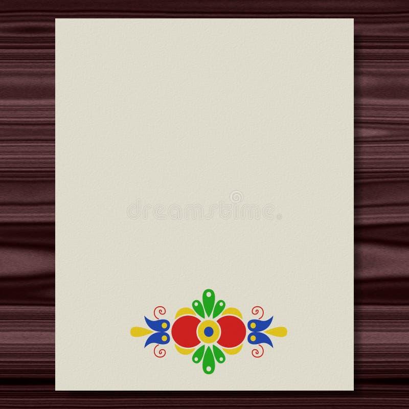 Morawski ludowy ornamentu writing papieru tekstury drewniany tło ilustracja wektor