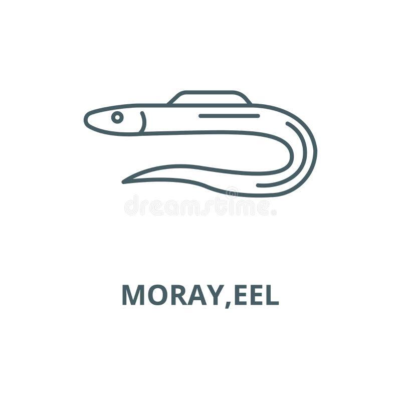 Moray ålvektorlinje symbol, linjärt begrepp, översiktstecken, symbol vektor illustrationer