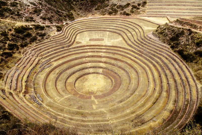 Moray, περιοχή coltivation Inca ` s, Περού στοκ εικόνες