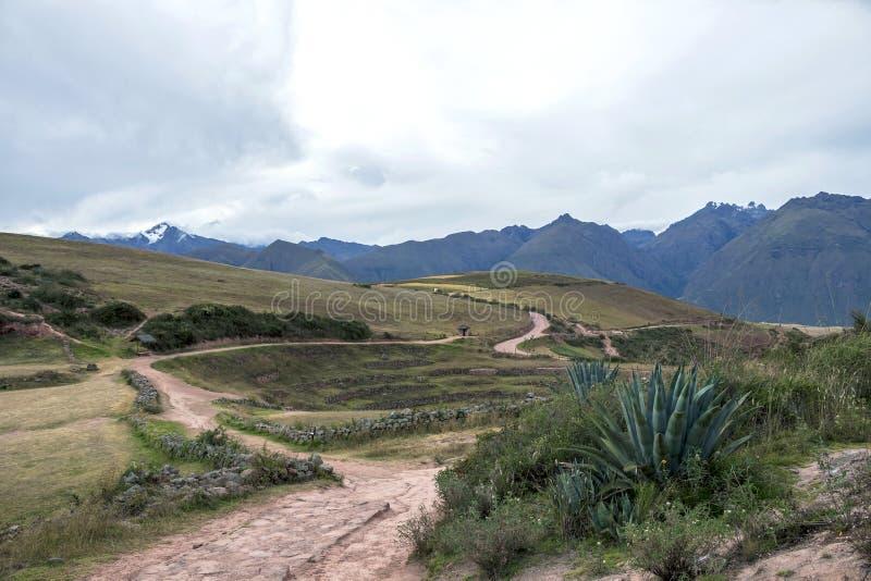 Moray archeologische plaats in Peru stock foto's