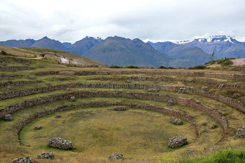 Moray archeologische plaats in Peru stock afbeelding