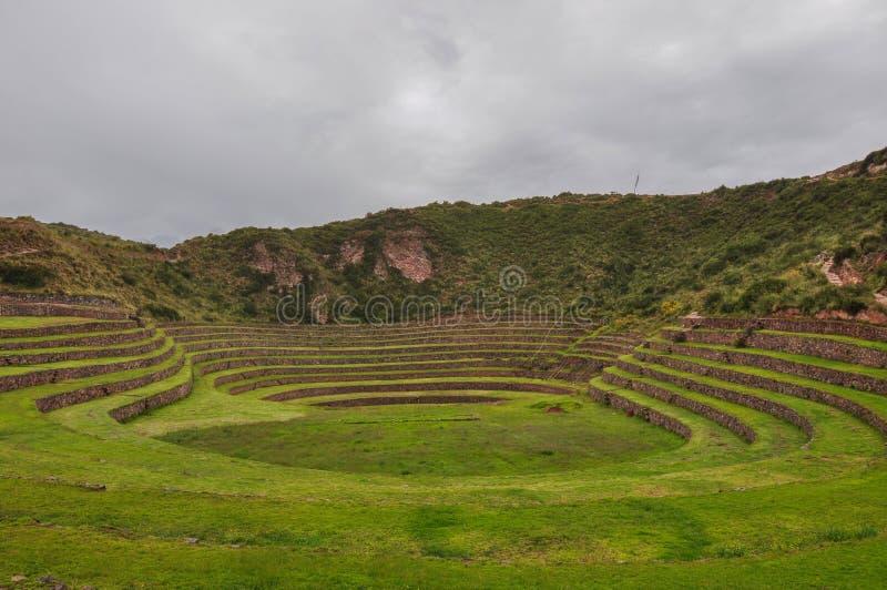 Moray Incas Ruinen, Peru stockfotos