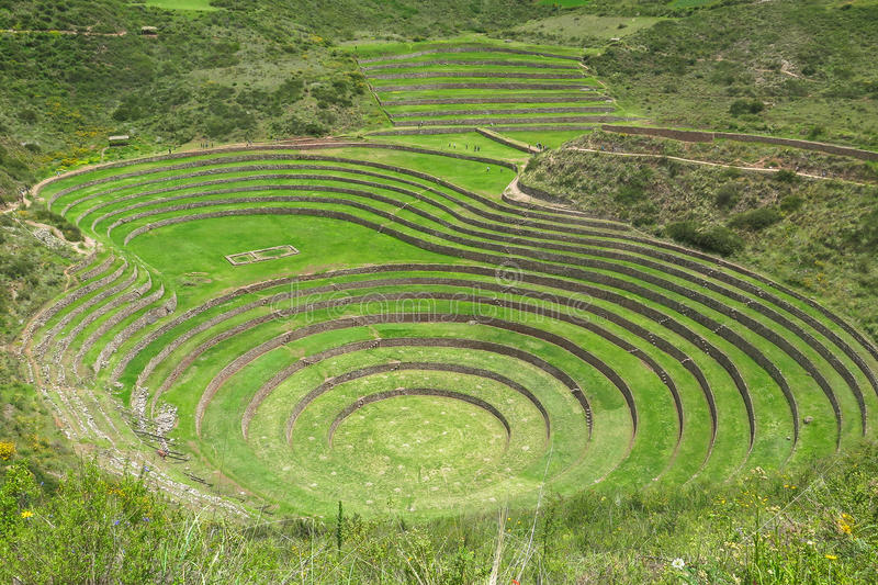 Moray Ruin in Cusco, Peru. This picture is taken in Cusco, Peru. Moray Quechua: Muray is an archaeological site in Peru approximately 50 kilometres northwest of stock photography