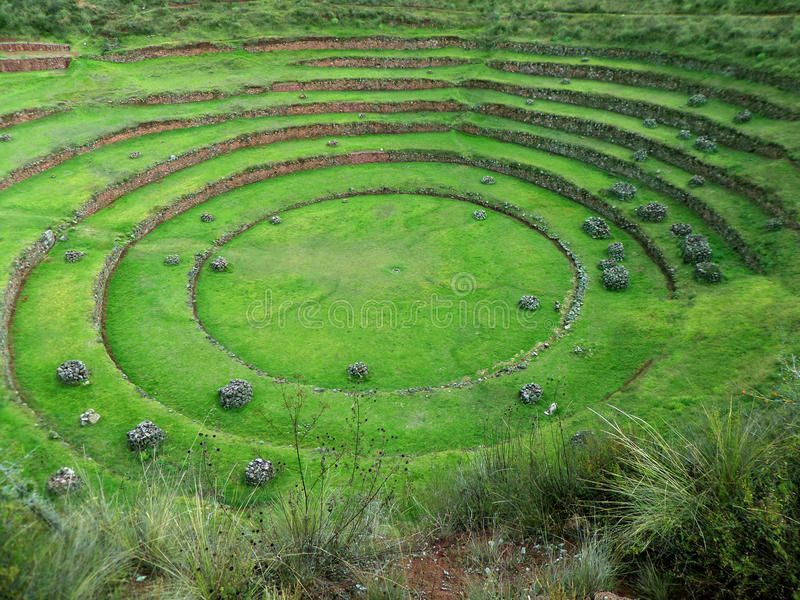 Moray Ruins Sacred Valley. The circular step terraces of a excavated Moray ruin in the Sacred Valley of Peru royalty free stock image