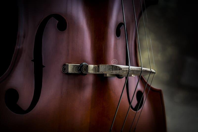 Morbidamente emettendo luce leggero sul primo piano del violoncello fotografia stock libera da diritti