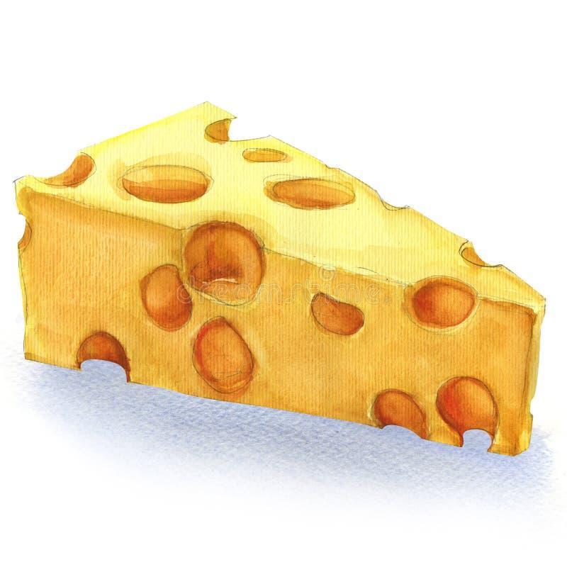 Morceau d'aquarelle de fromage d'isolement illustration de vecteur
