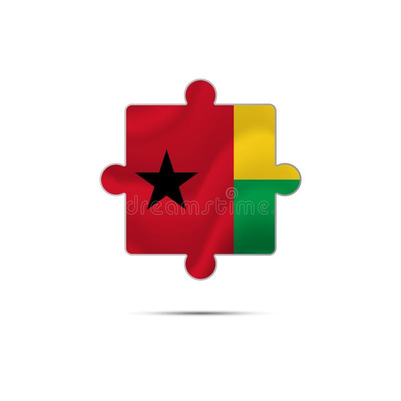Morceau d'isolement de puzzle avec le drapeau de la Guinée-Bissau Vecteur illustration stock