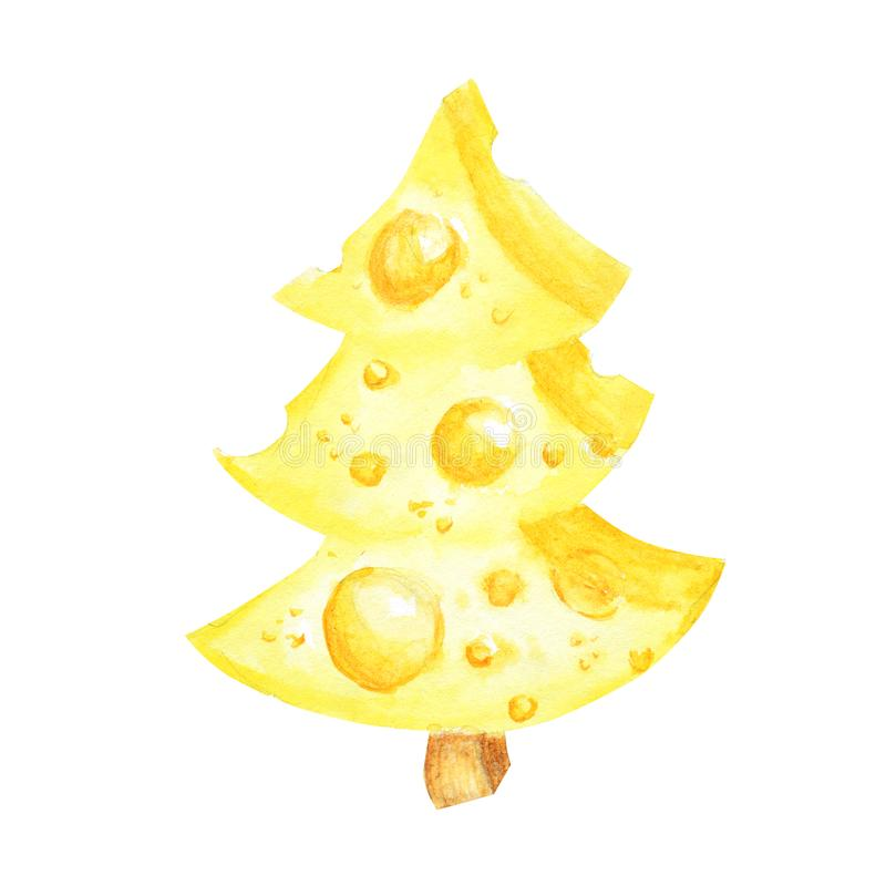 Morceau de dessin d'aquarelle de fromage jaune triangulaire Nourriture préférée de souris Arbre de No?l de fromage Illustration s illustration stock