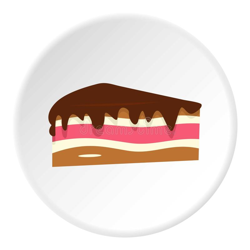 Morceau de gâteau avec le cercle d'icône de crème de chocolat illustration libre de droits