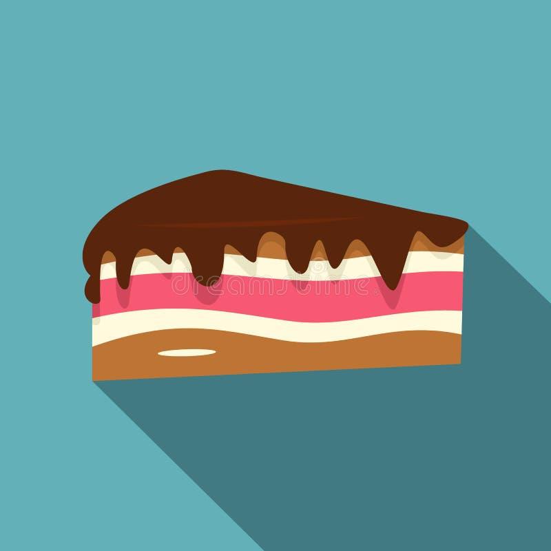 Morceau de gâteau avec le style plat d'icône de crème de chocolat illustration stock