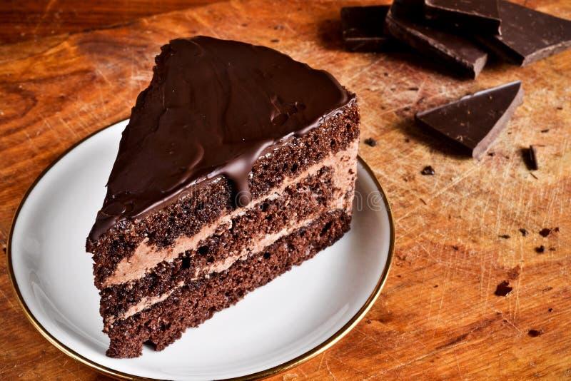 Morceau de gâteau de chocolat photos libres de droits