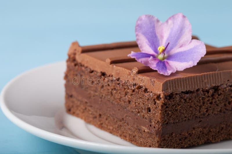 Morceau de gâteau de chocolat du plat blanc sur le fond bleu selec photographie stock libre de droits