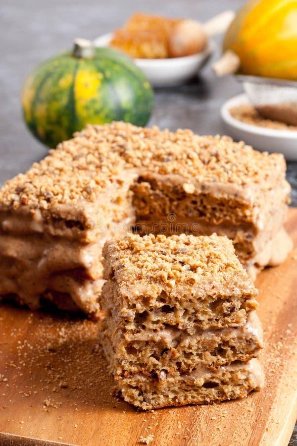 Morceau de gâteau de miel photographie stock libre de droits