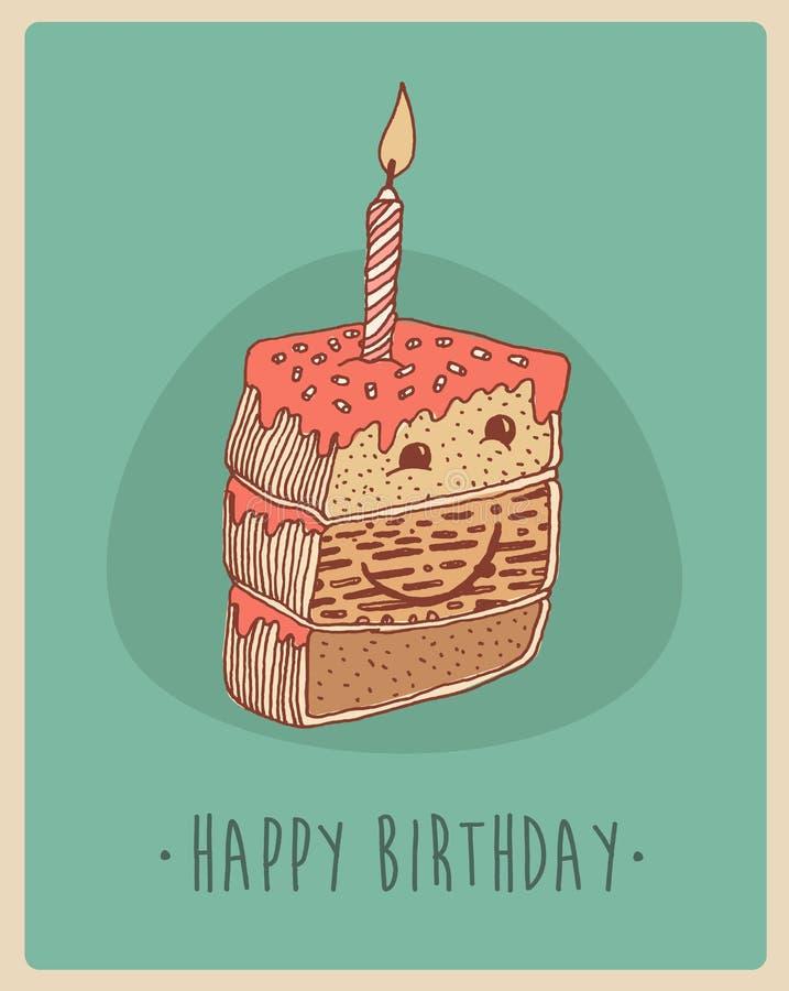 Morceau de petits gâteaux doux illustration, rétro style gravé de gâteau (carte de joyeux anniversaire), tiré par la main illustration stock