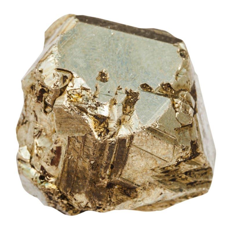 Morceau de pierre de pyrite d'isolement photographie stock