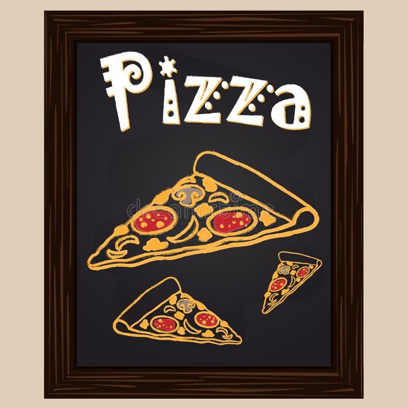 Morceau de pizza chaud avec le salami marqué à la craie illustration libre de droits