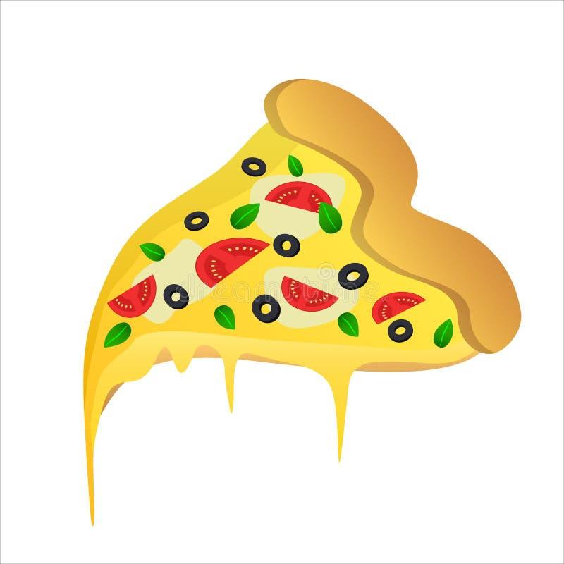 Morceau de pizza végétarienne avec les olives et le fromage illustration libre de droits