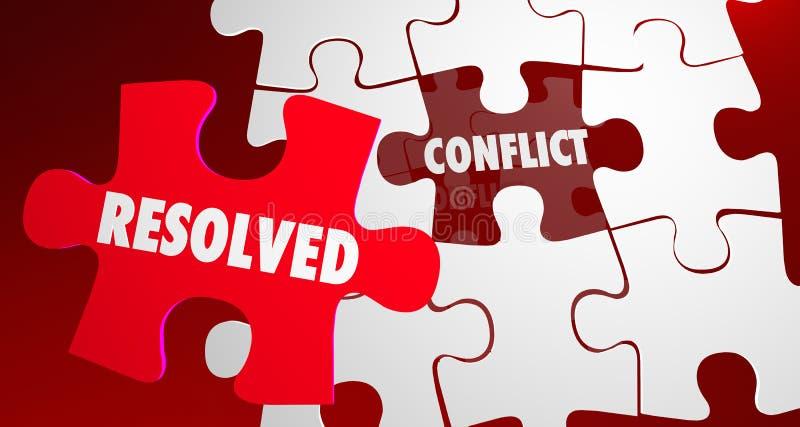 Morceau de puzzle de résolution de combat résolu par conflit illustration libre de droits