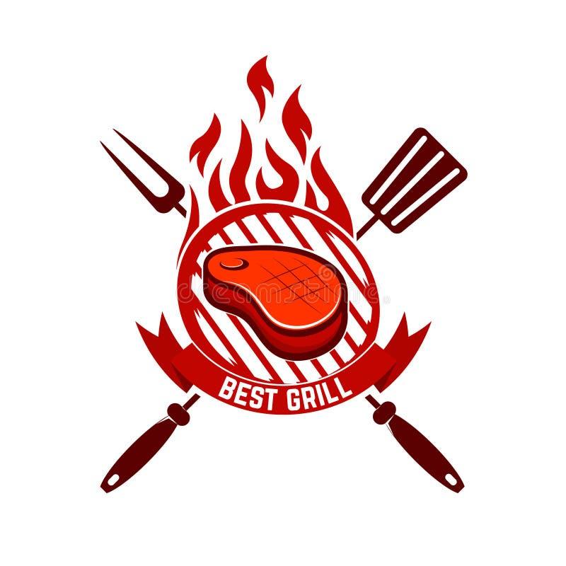 Morceau de viande sur le gril Le meilleur gril illustration libre de droits