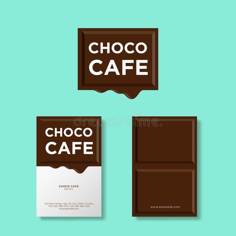 Morceau fondu de chocolat avec des lettres Logo pour le café ou la pâtisserie Composition avec le morceau de chocolat illustration libre de droits