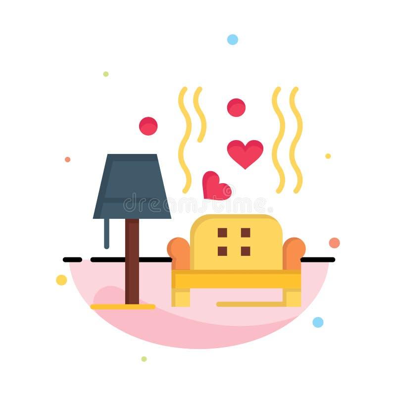 Morceau, sofa, amour, coeur, épousant des affaires Logo Template couleur plate illustration stock