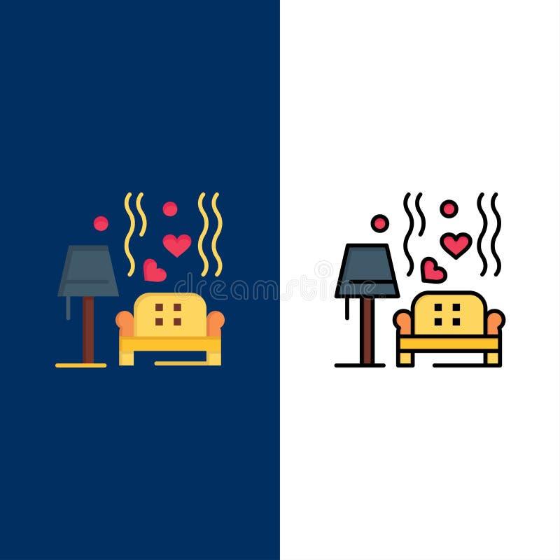 Morceau, sofa, amour, coeur, épousant des icônes L'appartement et la ligne icône remplie ont placé le fond bleu de vecteur illustration de vecteur
