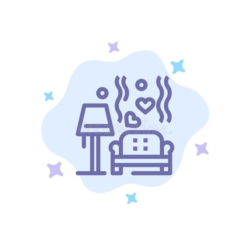 Morceau, sofa, amour, coeur, épousant l'icône bleue sur le fond abstrait de nuage illustration libre de droits
