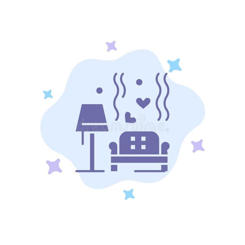 Morceau, sofa, amour, coeur, épousant l'icône bleue sur le fond abstrait de nuage illustration stock