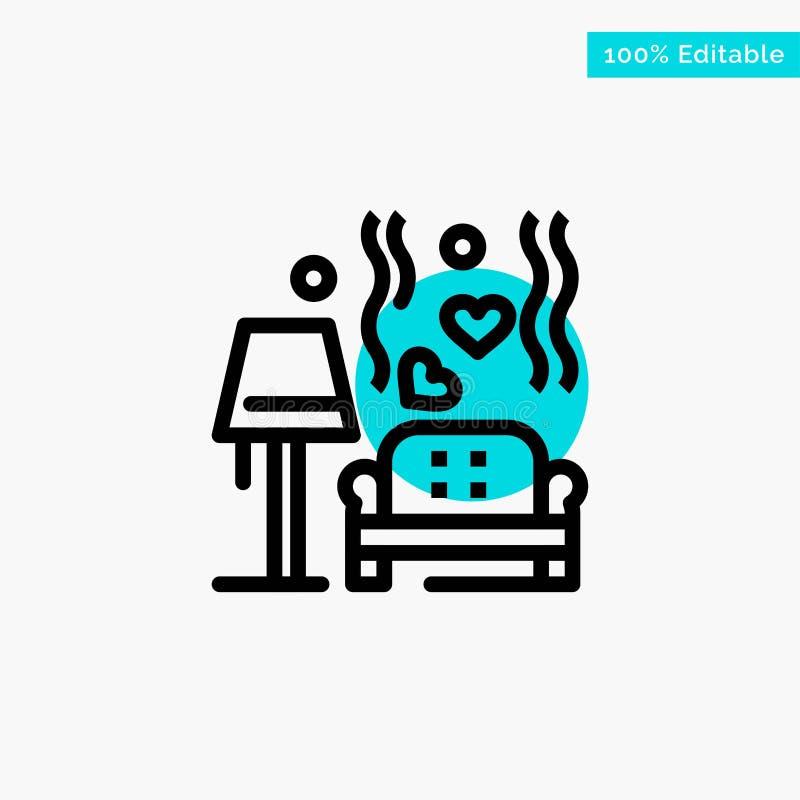 Morceau, sofa, amour, coeur, épousant l'icône de vecteur de point de cercle de point culminant de turquoise illustration libre de droits
