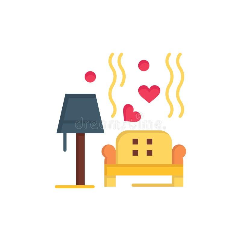 Morceau, sofa, amour, coeur, épousant l'icône plate de couleur Calibre de bannière d'icône de vecteur illustration libre de droits