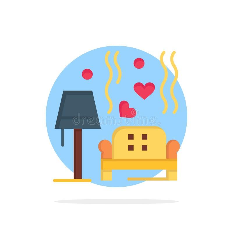 Morceau, sofa, amour, coeur, épousant l'icône plate de couleur de fond abstrait de cercle illustration stock