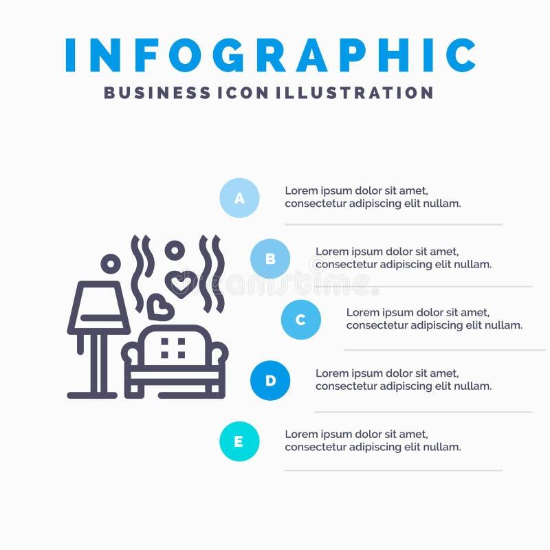 Morceau, sofa, amour, coeur, épousant la ligne icône avec le fond d'infographics de présentation de 5 étapes illustration libre de droits