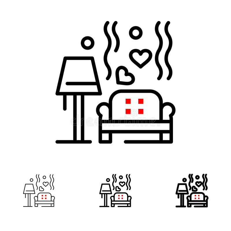 Morceau, sofa, amour, coeur, épousant la ligne noire audacieuse et mince ensemble d'icône illustration libre de droits