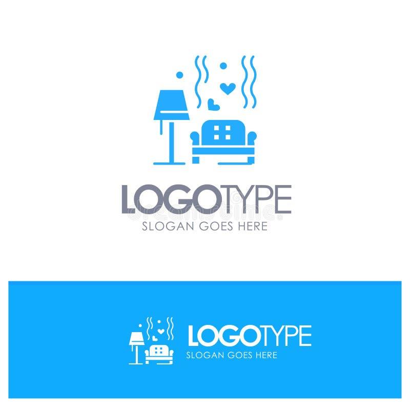 Morceau, sofa, amour, coeur, épousant le logo solide bleu avec l'endroit pour le tagline illustration stock