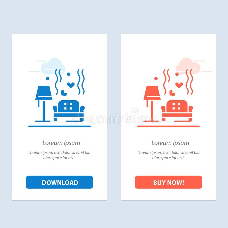 Morceau, sofa, amour, coeur, bleu de mariage et téléchargement rouge et acheter maintenant le calibre de carte de gadget de Web illustration de vecteur