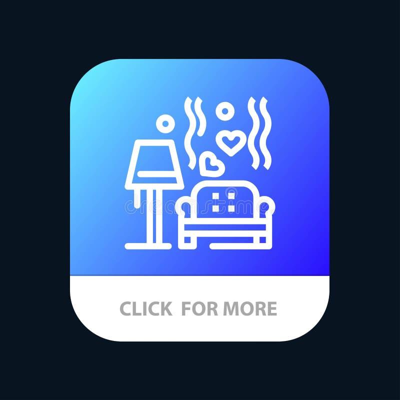 Morceau, sofa, amour, coeur, bouton mobile d'appli de mariage Android et ligne version d'IOS illustration libre de droits