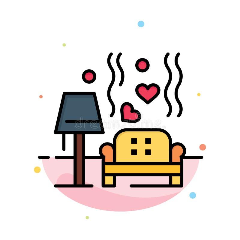 Morceau, sofa, amour, coeur, calibre plat d'icône de couleur d'abrégé sur mariage illustration de vecteur