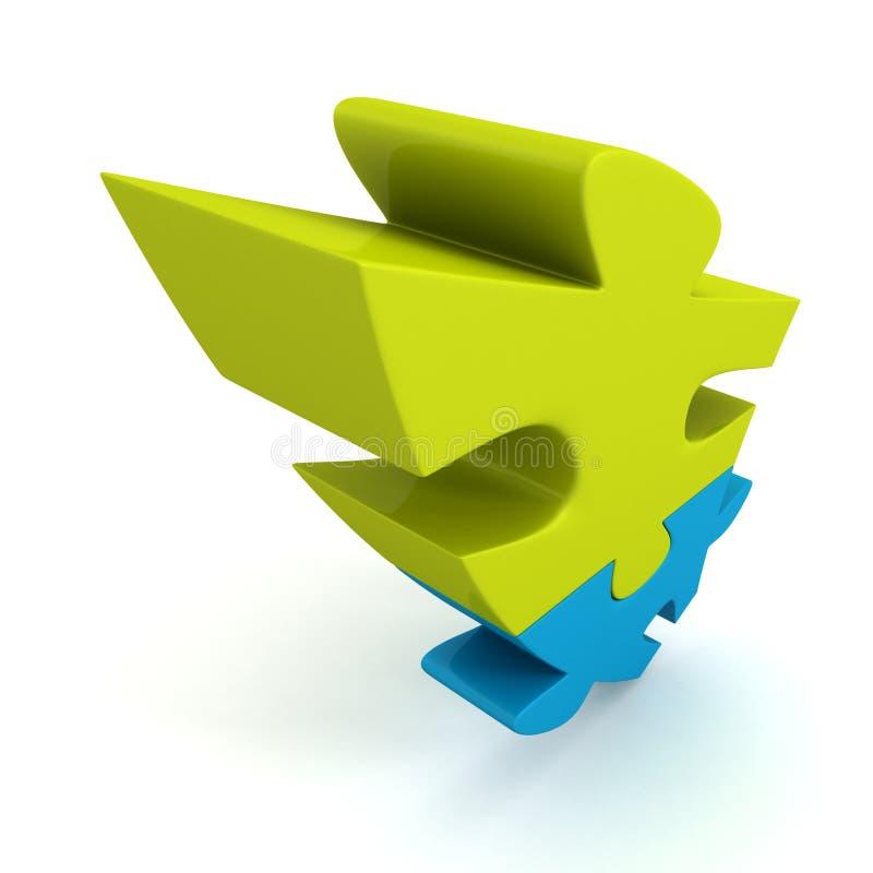 Morceaux bleus et verts lumineux de puzzle denteux reliés illustration libre de droits