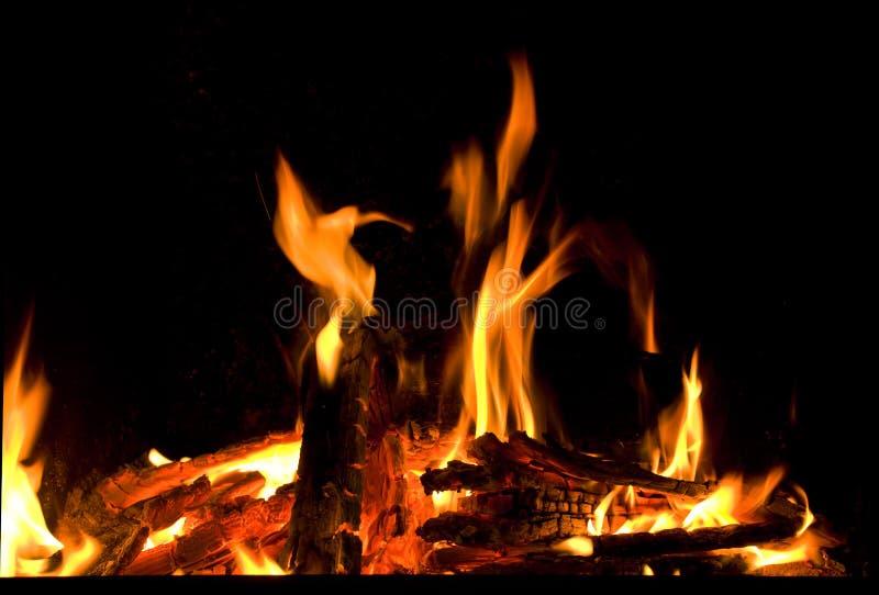 Morceaux brûlants de firewoods en cheminée photos libres de droits