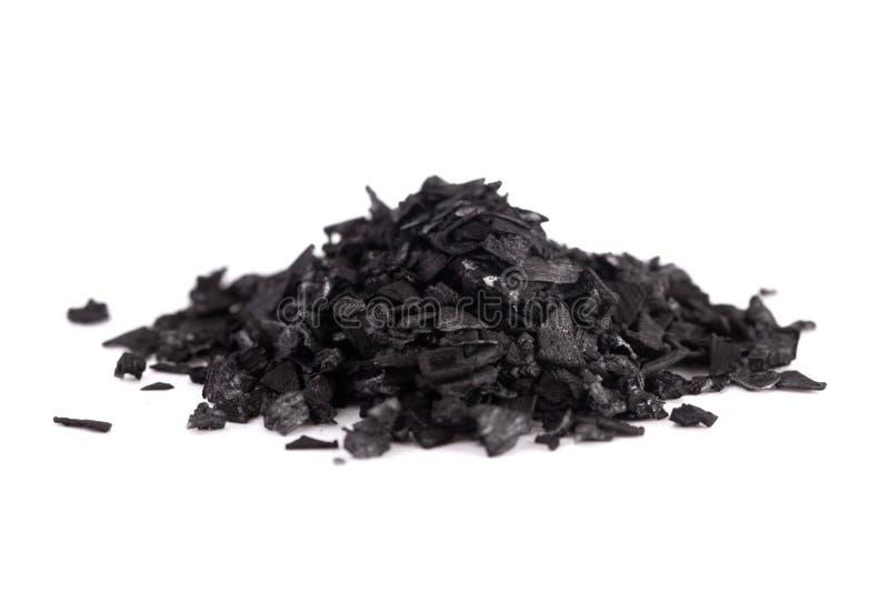 Morceaux de charbon actif une substance merveilleuse avec beaucoup d'utilisations fabuleuses image stock