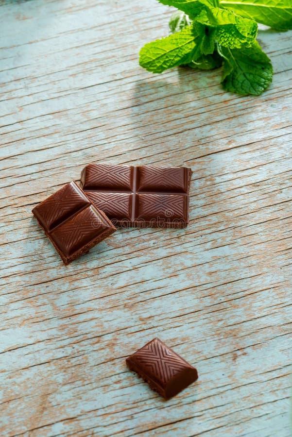Morceaux de chocolat et de feuilles de menthe image libre de droits